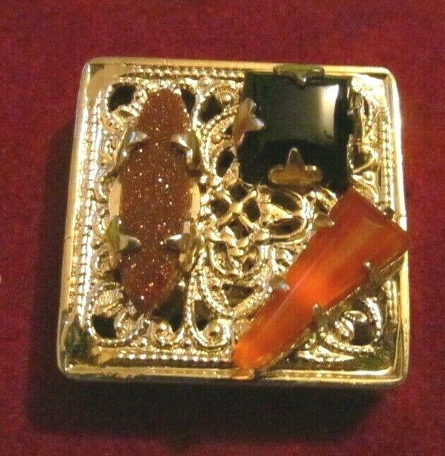 RARE VINTAGE VICTORIAN ETRUSCAN Carnelian onyx LARGE gold SLIDE CHARM