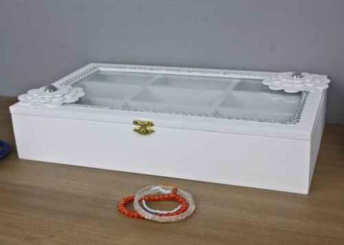 Kiste Holzkiste weiß Blume Holz Schmuckkiste Deckel Box Holzbox Glasdeckel Glas