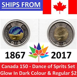 2017-Canada-150-2-Toonie-Glow-in-Dark-amp-Regular-SET-DANCE-OF-SPIRITS