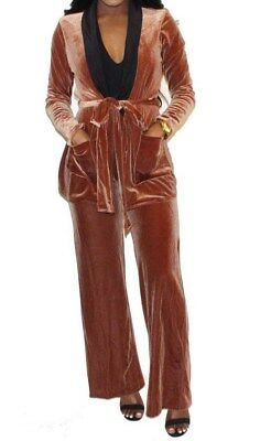 Black High Neck Damask Velvet Evening Club Slim Dress Pant 190 mv Jumpsuit S M L Women's Clothing