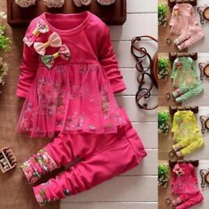 Toddler-Kids-Baby-Girls-Floral-Clothes-T-shirt-Tops-Dress-Pants-2PCS-Outfits-Set