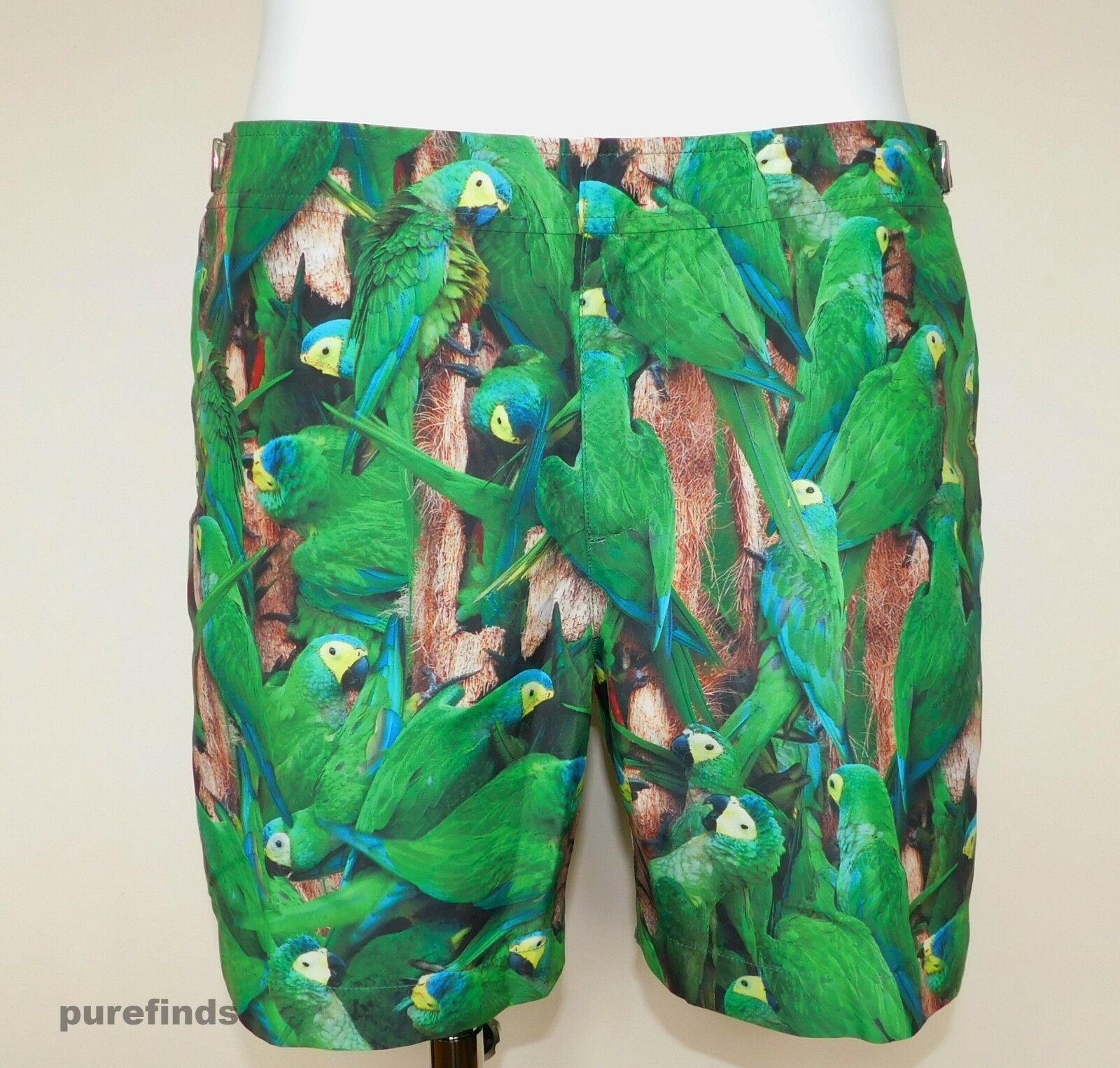 ORLEBAR BROWN BULLDOG FAUNA PRINT SIZE 36 SWIM SHORTS+BAG, PARAKEETS, BNWT