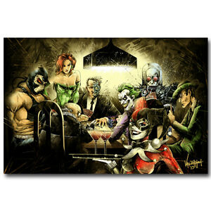 "Joker Harley Quin Playing Poker Funny Silk Poster 12x18 24x36"" Batman DC Comic"