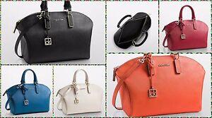 Calvin Klein Scarlett saffiano leather city dome satchel shoulder ... 7161a8c486074