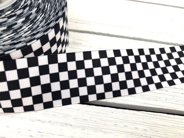 "5 Yards Black White Checkered Nascar Racing Flag Satin Ribbon 3//8/""W"
