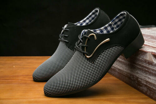 Homme Chaussures robe bout pointu Homme Derbies Mariage Business Style Bleu Blanc Nouveau