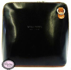 ladies-smooth-Italian-leather-black-amp-tan-vera-pelle-cross-body-bag