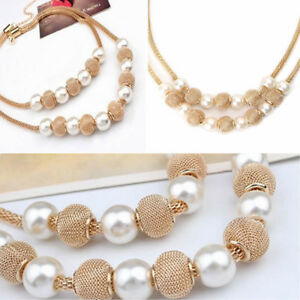 Women-Pendant-Chain-Choker-Chunky-Pearl-Fashion-Statement-Bib-Necklace-Jewelry