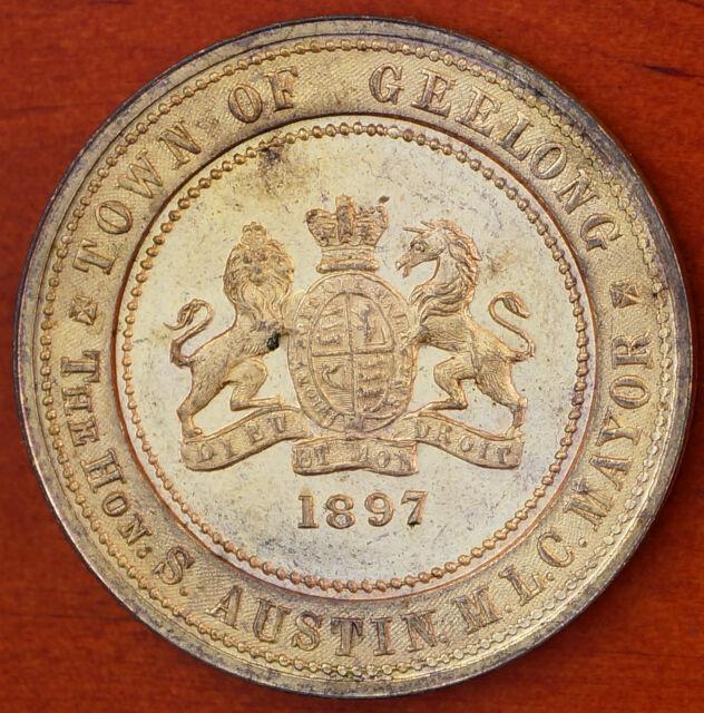Australia Victoria Diamond Jubilee 1897 Geelong VIC Gilt Medal C.1897/69 AU