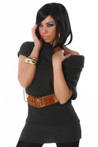 Gürtel kurzarm Jacke Mode S 34 36 Damen Pullover Sweater Pullunder Kragen inkl