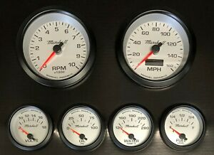 Marshall-6-Gauge-Set-Silver-Dials-Black-Bezels-0-90-Ohm-Fuel-Level-2464BLK