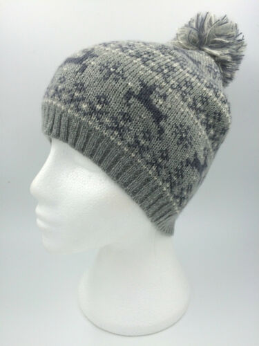 GIRLS GREY CHARCOAL CREAM SILVER REINDEER BOBBLE HAT ONE SIZE 0080