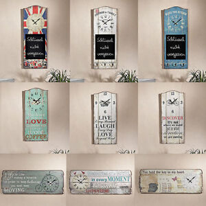 shabby chic dekouhr uhrpaneel memotafel garderobe wand dekoration wandbild tafel ebay. Black Bedroom Furniture Sets. Home Design Ideas