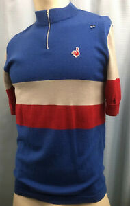 XL DE MARCHI ITALY Wool Blend RETRO Cycling Jersey TATTY PATINA Red White Blue