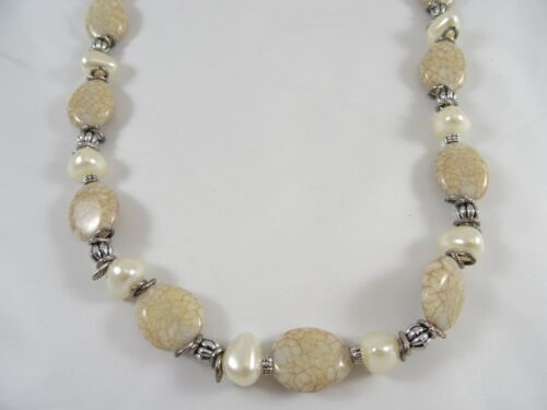 """New 32/"""" Long Marlbled Bead Necklace By Chico/'s New with Tags #N2132"""