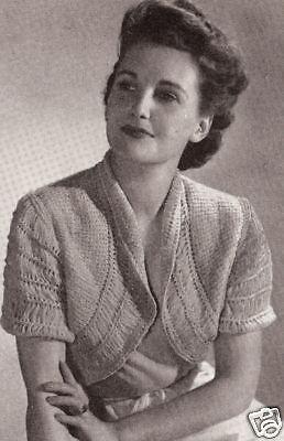 Vintage Knitting PATTERN to make Bolero Shortie Bed Jacket Sweater GoodHumour