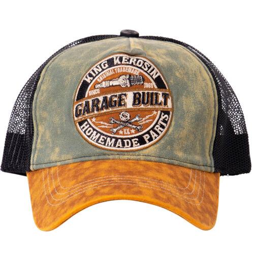 King queroseno rockabilly vintage trucker Cap gorra sombrero garaje built verde-marrón