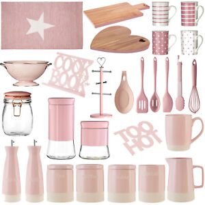 Pink-Kitchen-Accessories-Utensils-Canisters-Jars-Storage-Mugs-Serving-Boards-New