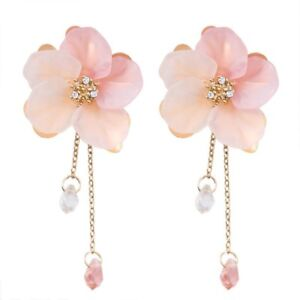 Details About Women Acrylic Crystal Flower Drop Dangle Earrings Pink Long Chain Jewelry Gift