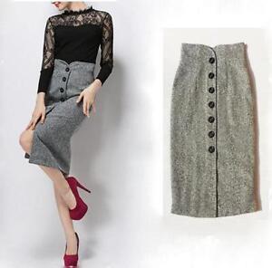 Womens-Winter-Button-High-Waist-Wool-Blend-Straight-Pencil-Skirt
