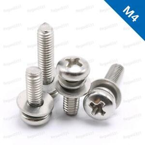 M4 Cross Recessed Pan Head Screw Spring Lock Washer And