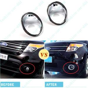 ABS Chrome Car Front Fog Light Lamp Cover Trim 2pcs For Ford Explorer 2011-2015
