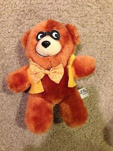VTG-Ted-E-Bear-Brown-Teddy-Plush-Stuffed-Animal-Toy-Yellow-Vest-Bow-Tie-Glasses