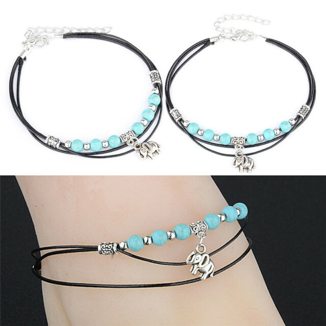 Turquoise Elephant Rope Multi-Layer Handmade Leather Anklet Chain Bracelet _CA