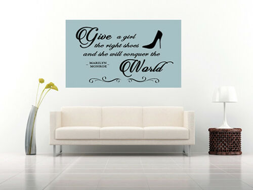 Duck Egg Blue Give a Girl Shoes Marilyn Quote Canvas Wall Art Print A0 A2 A1 A4