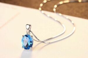 Damen-Kette-Anhaenger-925-Sterling-Silber-Sky-Blue-Topas-2-3-ct-VVS-Rhodiniert