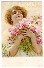 POSTCARD ITALIAN TRICOFILINA SHAMPOO ARTIST-SIGNED BELTRAME WOMAN & ROSES