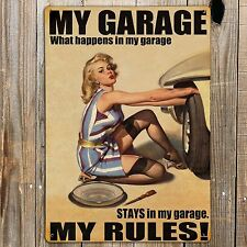 MY GARAGE MY RULES Print On Metal Sign Garage Man cave Den Bedroom Plaque Dealer