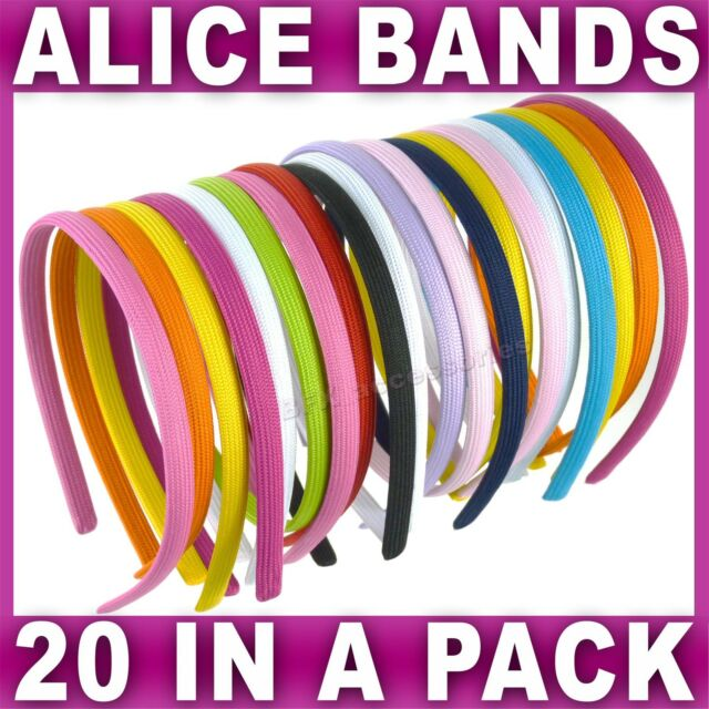Set of 20 ALICE BANDS headband fabric hair band womens girls assorted colours