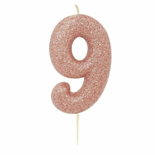 Rose Gold Glittery Sparkly Birthday Candle Cake Topper Cake Decoration Age 0-9