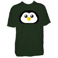 Childrens Christmas Penguin Tshirt - Cute Face Xmas Kids Boy Girl T Shirt New