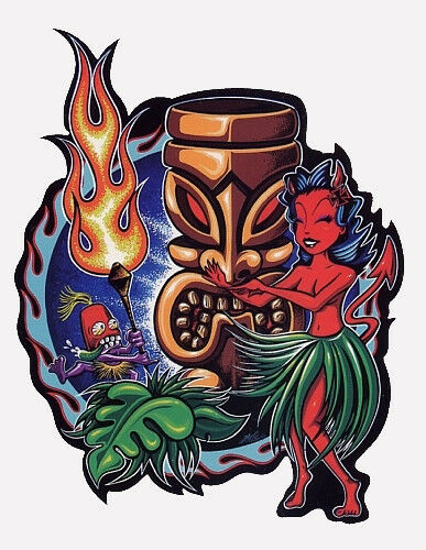 Luau AWESOME TIKI HULA DANCER DEVIL GIRL HAWAII ISLAND SURF STICKER/VINYL DECAL!