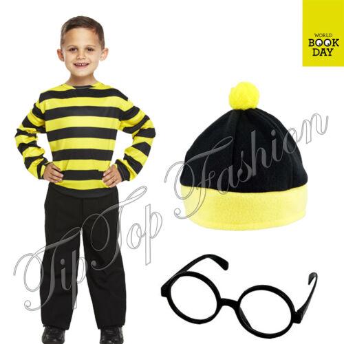 New Boys Black /& Yellow Striped Jumper Top Odlaw Baddie Fancy Dress Book Week