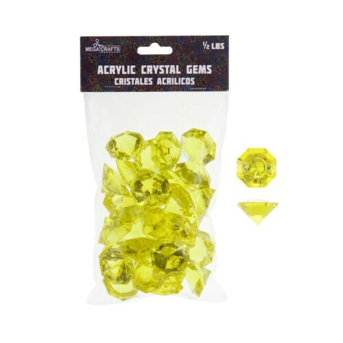 1//2 Pound Acrylic Decorative Large Diamonds Mega Crafts Gold
