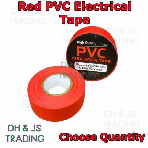 Red Electrical PVC Insulation Tape 19mm x 20 Metre Flame Retardant Insulating