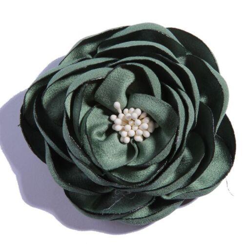 20PCS 7CM Vintage Burned Eage Satin Flowers With Stamen For Headdress