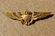 WW2 US Navy Pilots Wing Full Size 2.75  inch Pin Back Imperial 1/20 10kt GF
