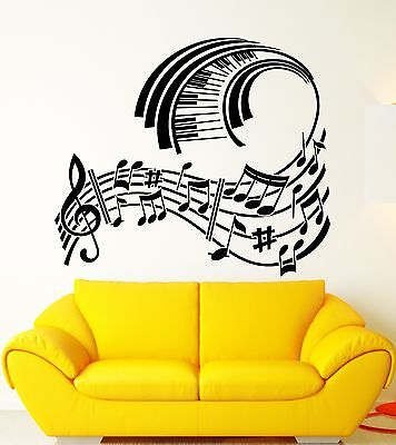 Wall Sticker Vinyl Decal Piano Sheet Music Modern Style Room Decor (ig1271)