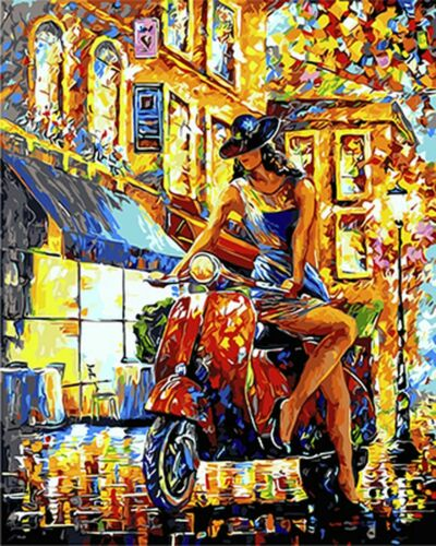 Motorcycle Lady City Girl Paint By Numbers Kit DIY Number Canvas Painting Oil