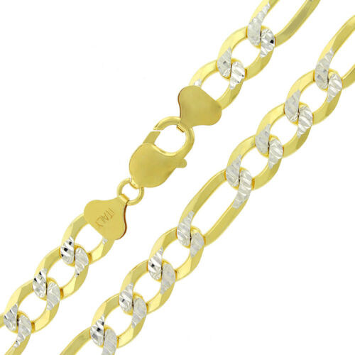 925 Sterling Silver 10.5mm Figaro Gold Diamond Cut ITProLux Chain Necklace
