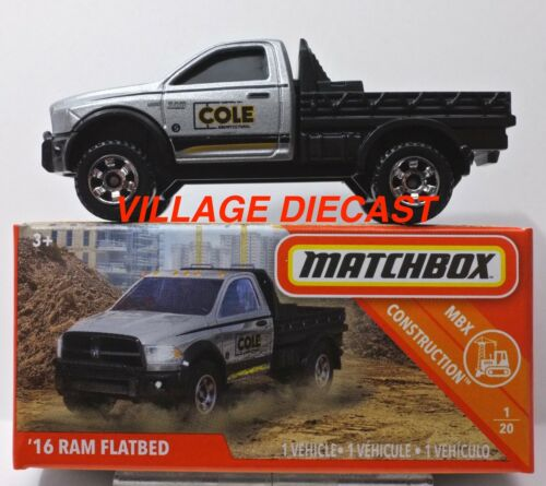 2019 Matchbox Power Grabs #24 /'16 Ram Flatbed SILVER // COLE ARCH Dodge // MIB