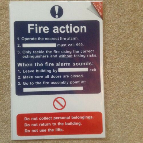 FIRE ACTION Adhesive Semi Ridged PVC Safety Sign 200mm x 300mm