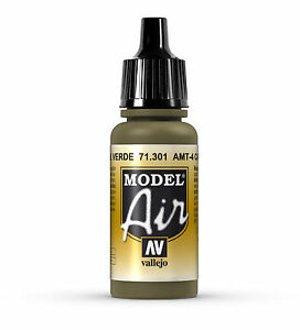 Vallejo Model Air: AMT-4 Camouflage Green - Acrylic Paint Bottle 17ml VAL71.301