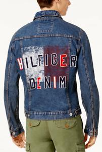 Tommy Hilfiger Men/'s Medium Wash Blue Graphic Print Denim Jacket
