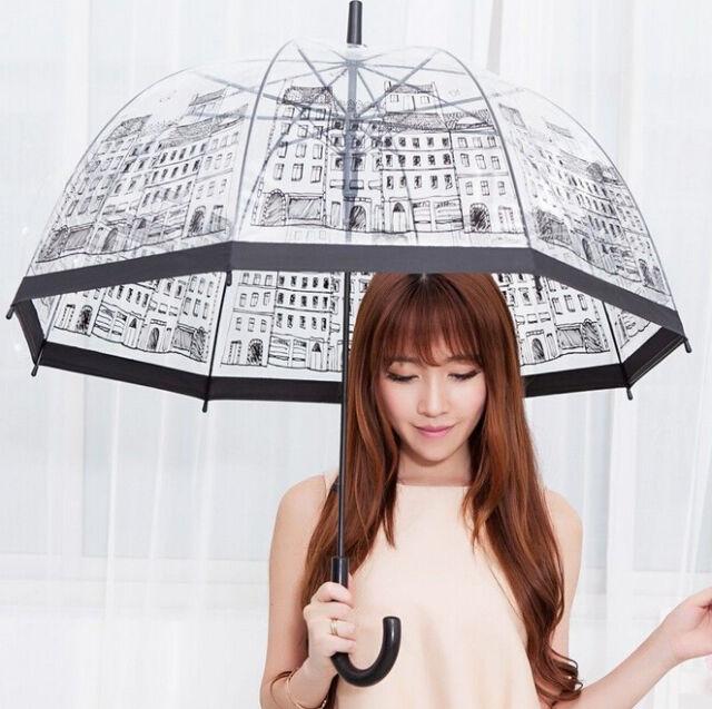 FD1483 Transparent Dome Birdcage Umbrella Stick Long Building Print Umbrella New