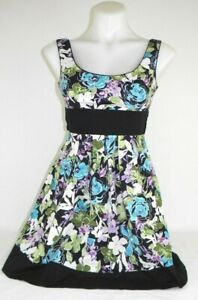 Speechless-Sleeveless-Black-Floral-Print-Dress-with-Tie-Back-Women-039-s-Sz-3-EUC-Q